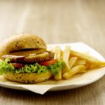 greendot black pepper soya burger with fries