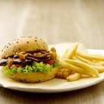 greendot mushroom burger with fries