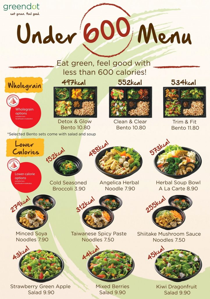 Greendot Singapore Hpb Lower Calories Choices Under 600 Calories